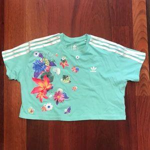 Adidas teal floral crop top